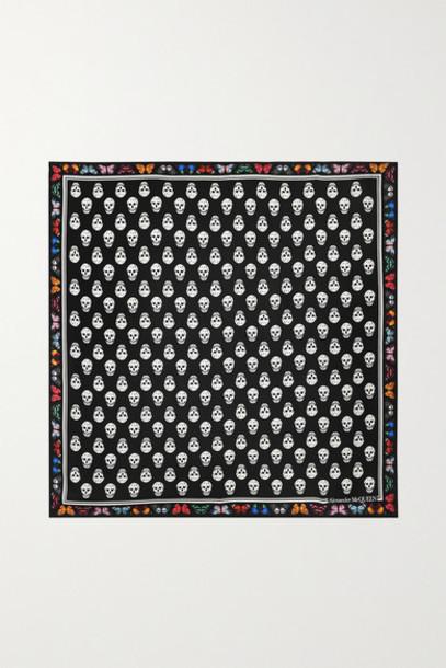 Alexander McQueen - Printed Silk-twill Scarf - Black