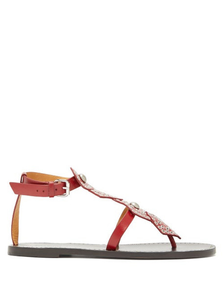 Isabel Marant - Studded Leather Sandals - Womens - Red