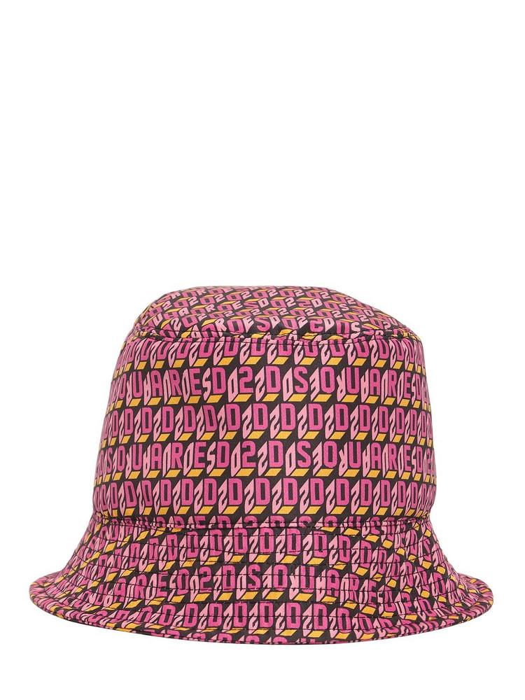 DSQUARED2 Monogram Logo Tech Bucket Hat in pink