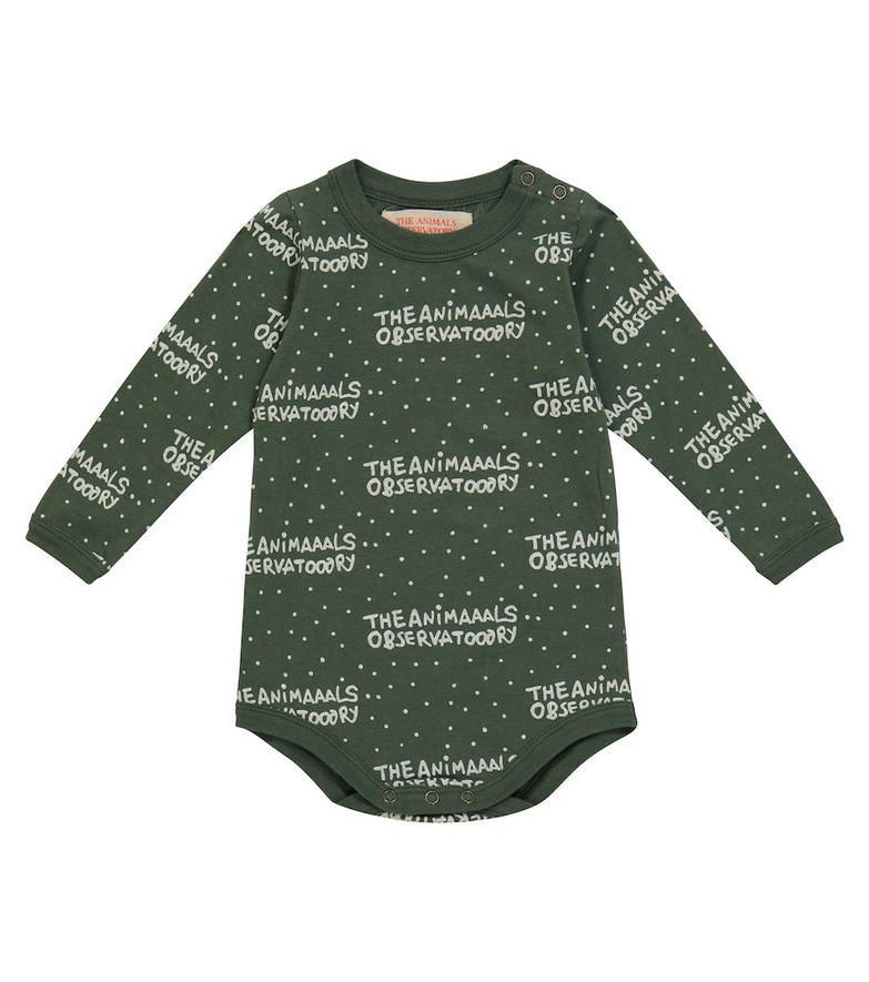 The Animals Observatory Baby Wasp logo cotton bodysuit in green