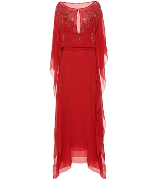 Roberto Cavalli Embellished silk crêpe kaftan in red
