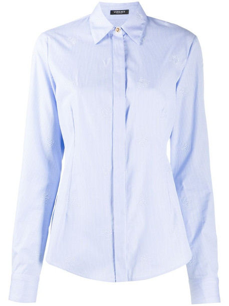 Versace rose-embroidered striped shirt in blue