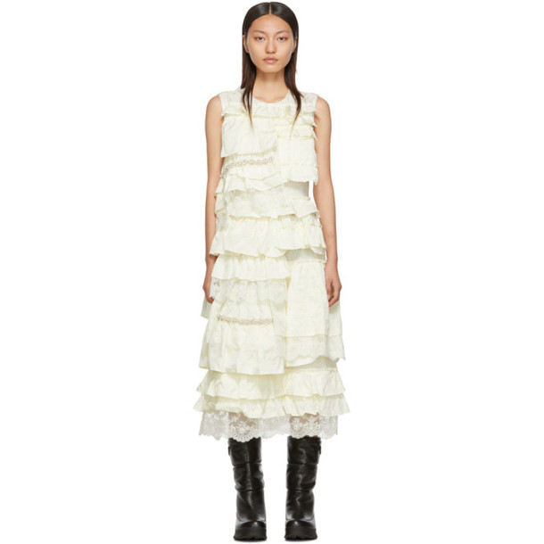Moncler Genius 4 Moncler Simone Rocha Off-White Ruffle Dress