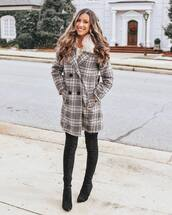 coat,wool coat,plaid,over the knee boots,black boots,double breasted,winter outfits,streetstyle,white sweater