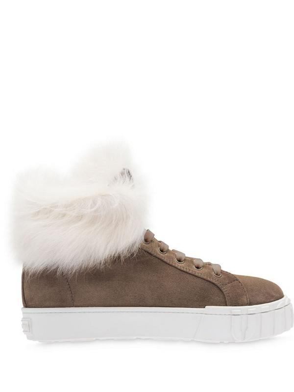 Miu Miu shearling high-top sneakers in brown