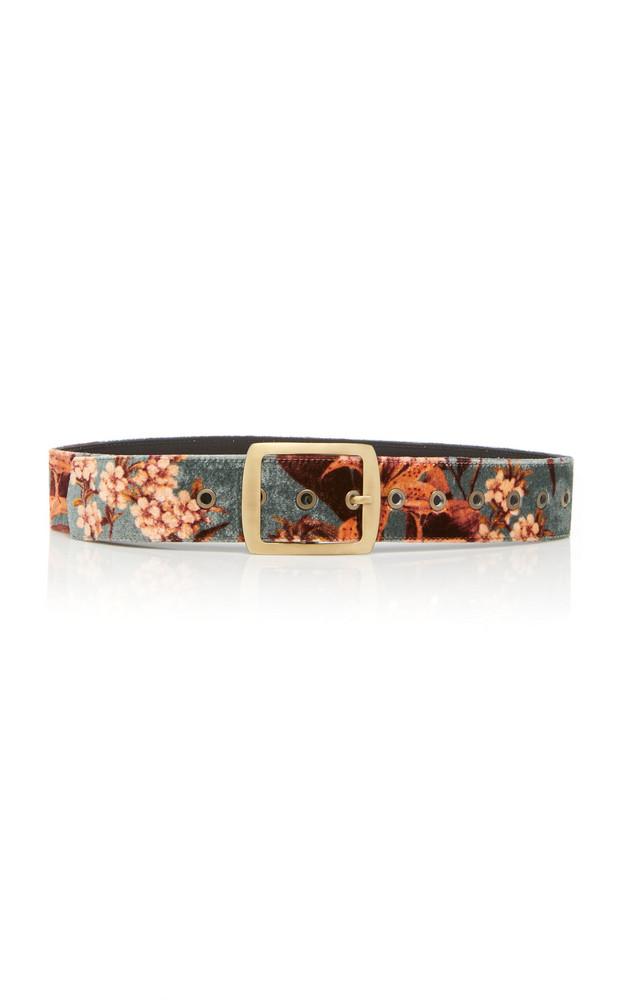 Johanna Ortiz M'O Exclusive San Telmo Floral-Print Velvet Belt in blue