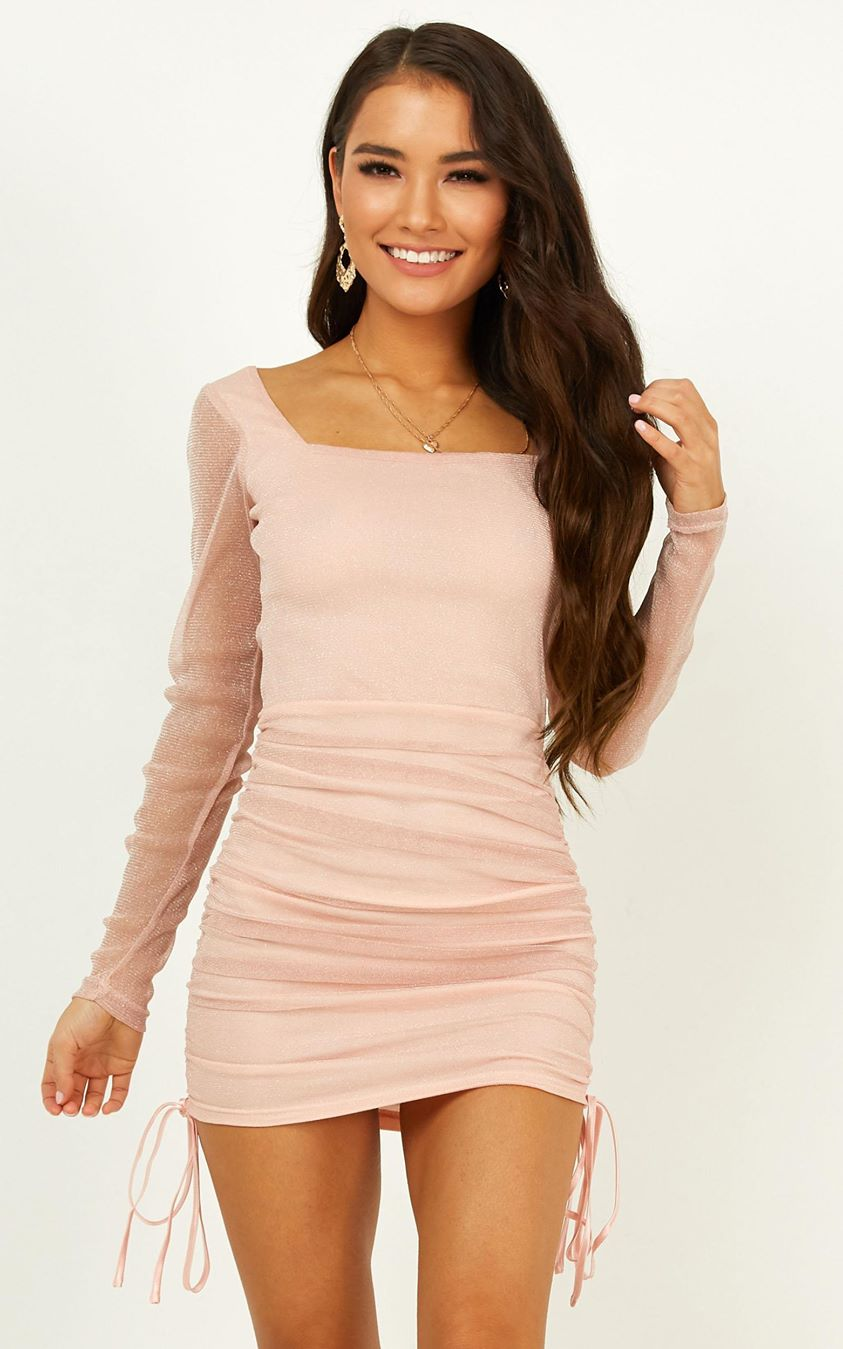 Want To See What You Go Dress In Blush Mesh Lurex
