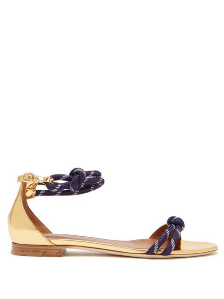 Malone Souliers - Fenn Metallic Leather Sandals - Womens - Gold Navy