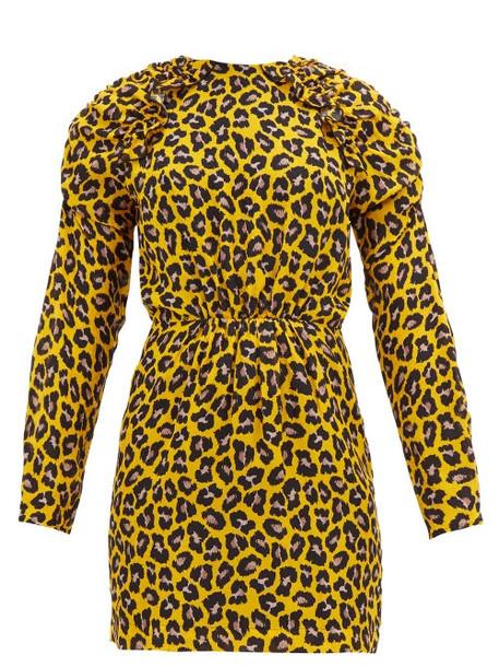 Msgm - Ruffled Leopard Print Crepe Mini Dress - Womens - Yellow