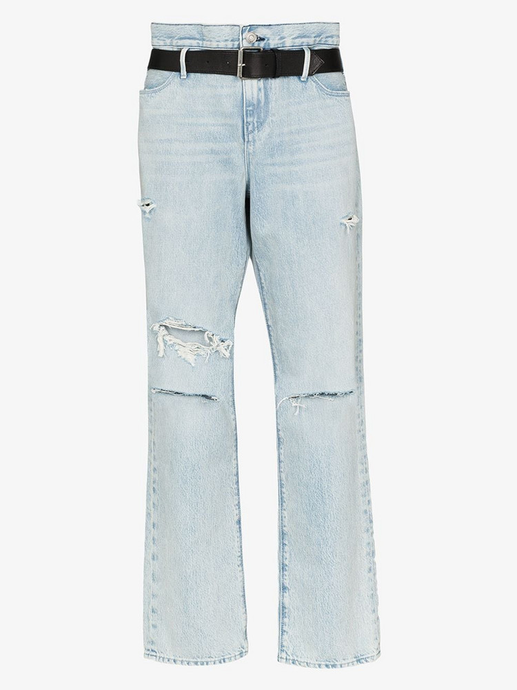 RtA belted rip detail jeans in blue