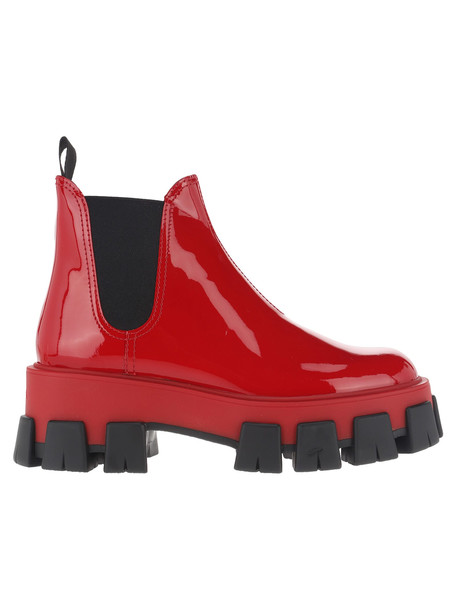 Prada Patent Leather Boots in red