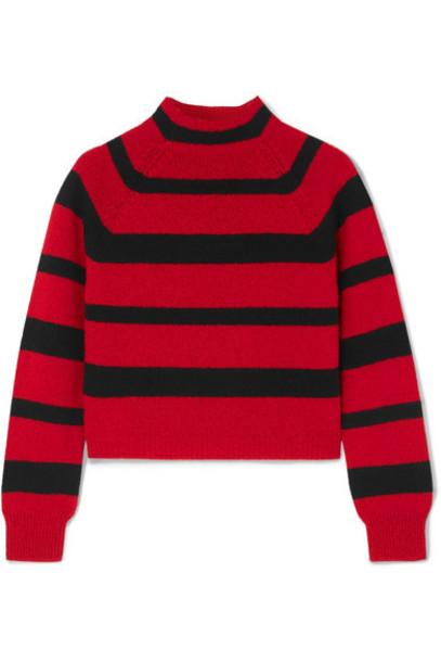 Miu Miu - Cropped Striped Cashmere Sweater - Red