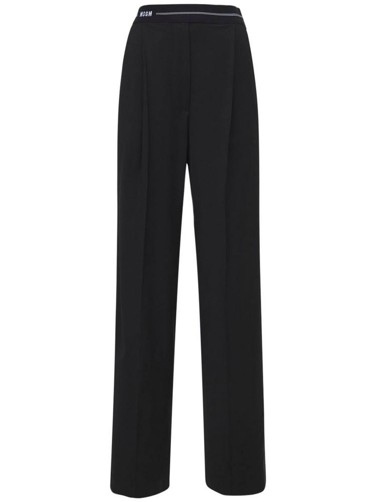 MSGM Cool Wool Blend Pants in black