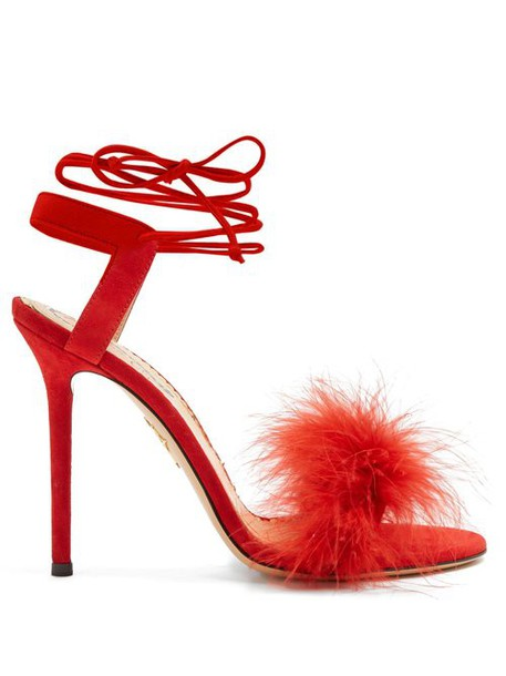 Charlotte Olympia - Salsa Feather Embellished Suede Sandals - Womens - Red