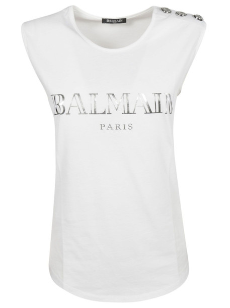 Balmain Embellished Buttons Top in white