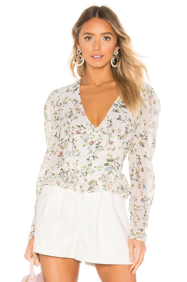 Divine Heritage Button Up Blouse in white