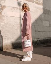 bag,white bag,white sneakers,long coat,pink coat,straight pants,striped pants