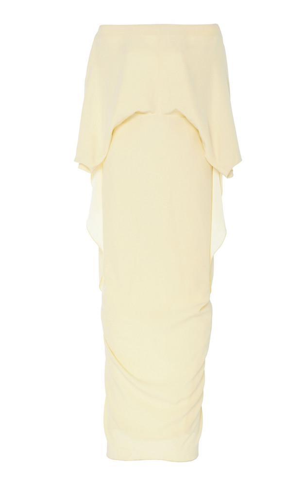 Hellessy Berenice Strapless Silk Cape Dress in yellow