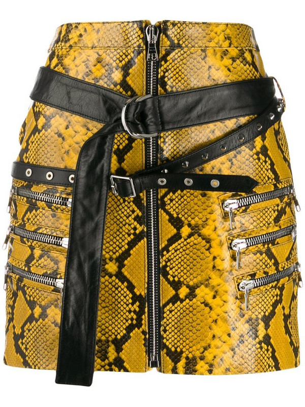 UNRAVEL PROJECT snake-effect mini skirt in yellow