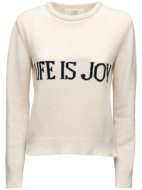 ALBERTA FERRETTI Knit Intarsia Cashmere & Wool Sweater in black / ivory