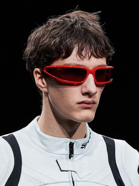 BALENCIAGA Screen 0123s Rectangular Sunglasses in red