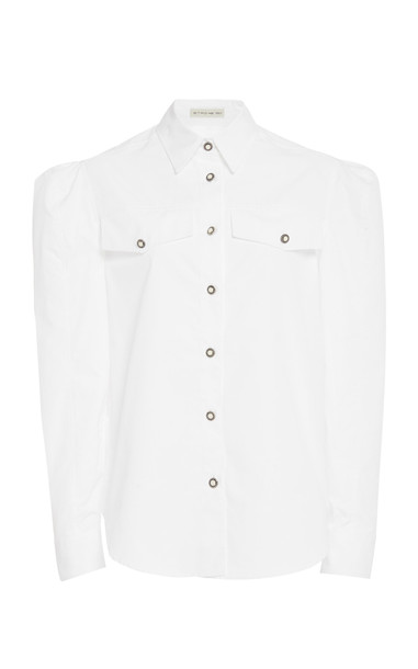Etro Embellished Cotton-Poplin Blouse in white
