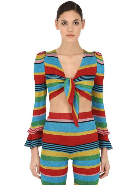 MOSCHINO Striped Lurex Knit Crop Top