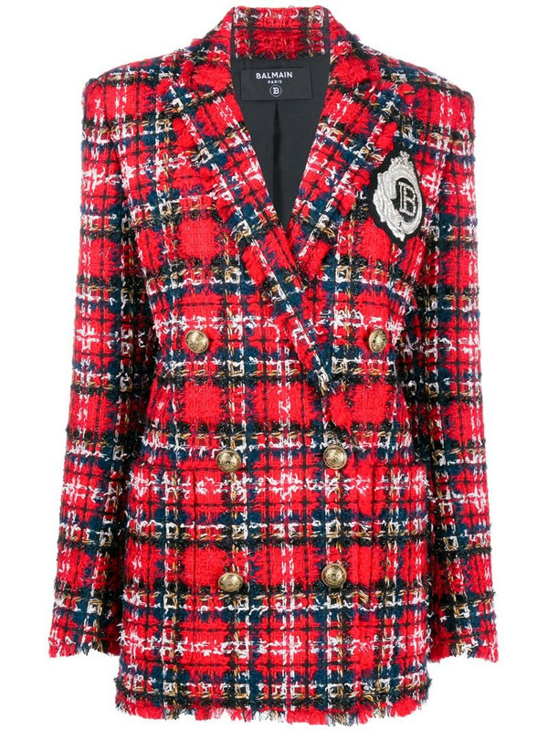 Balmain oversized tartan tweed blazer in red