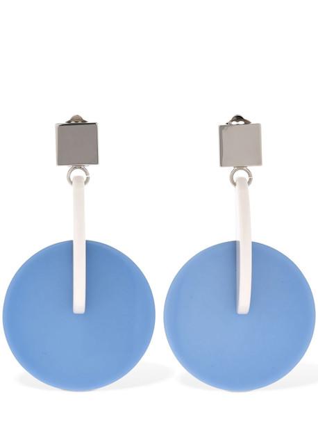 MARNI Vertigo Pop Acrylic Clip-on Earrings in blue / white
