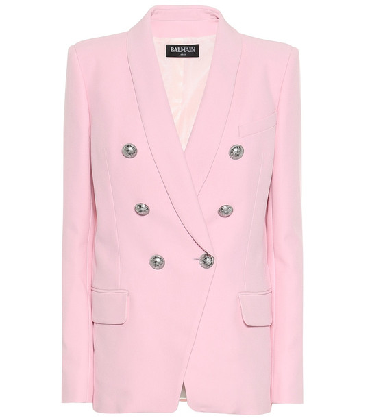 Balmain Crêpe double-breasted blazer in pink