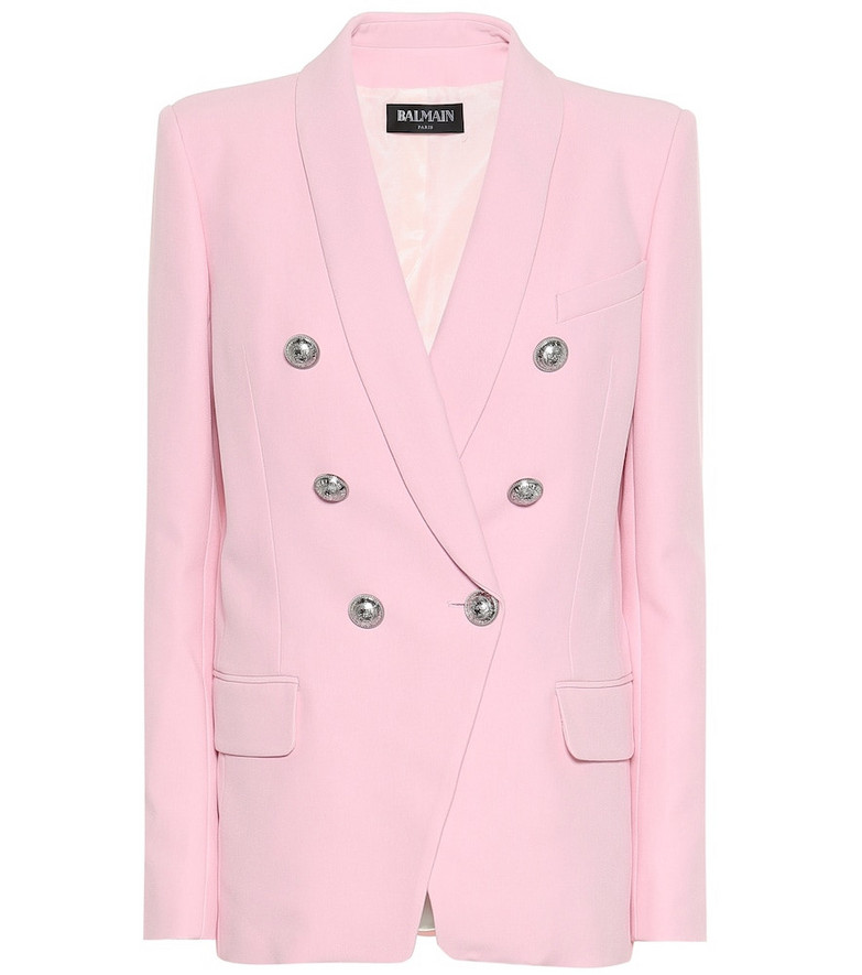 Balmain Crêpe double-breasted blazer in pink