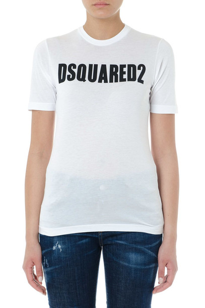 Dsquared2 White Cotton Logo T-shirt