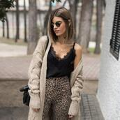 ms treinta,blogger,cardigan,top,pants,bag,camisole,spring outfits,animal print,leopard pants,leopard print
