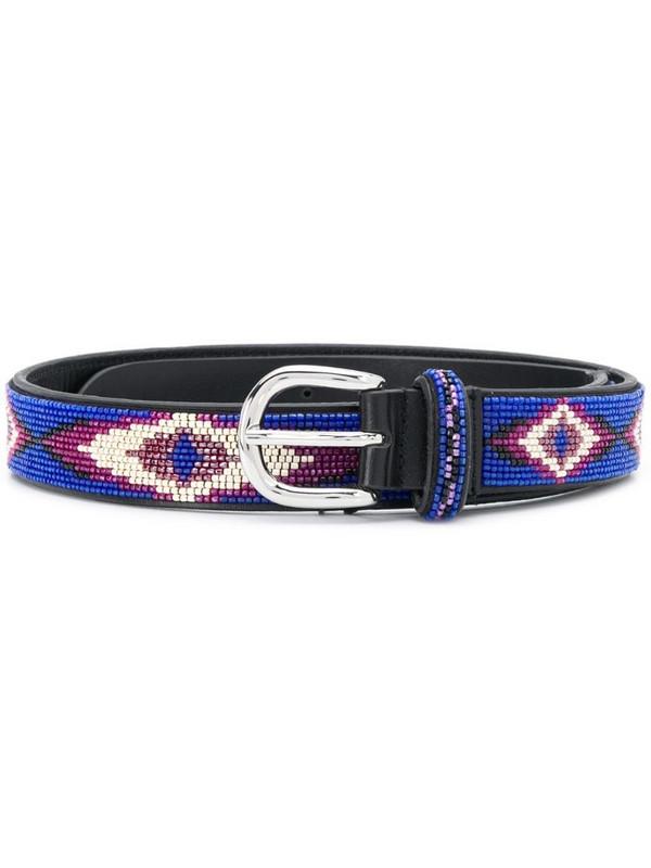 Isabel Marant Elsa beaded buckle belt in blue