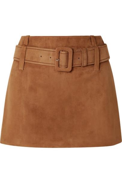 Prada - Belted Suede Mini Skirt - Brown
