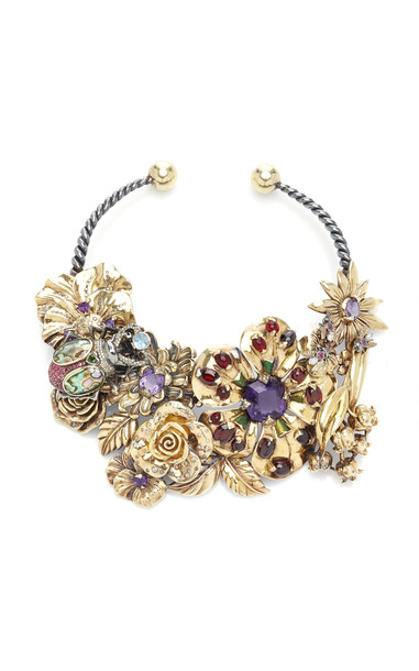 Sylvie Corbelin 18K Yellow Gold Matin de Mai Fleuri Necklace in multi