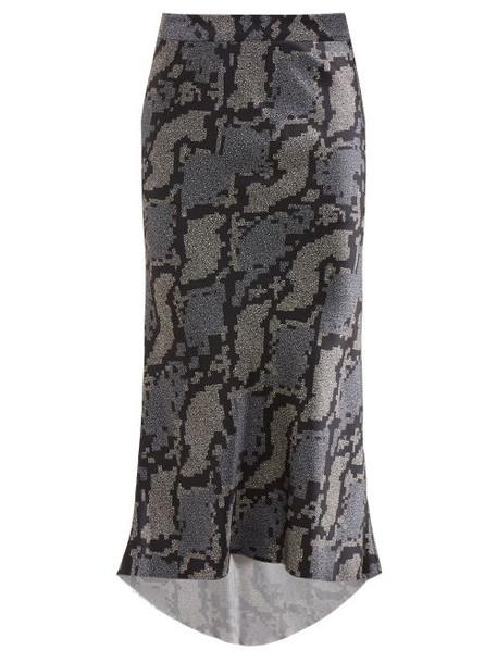 Raey - Bias Godet Geo Snake Print Silk Slip Skirt - Womens - Navy Print