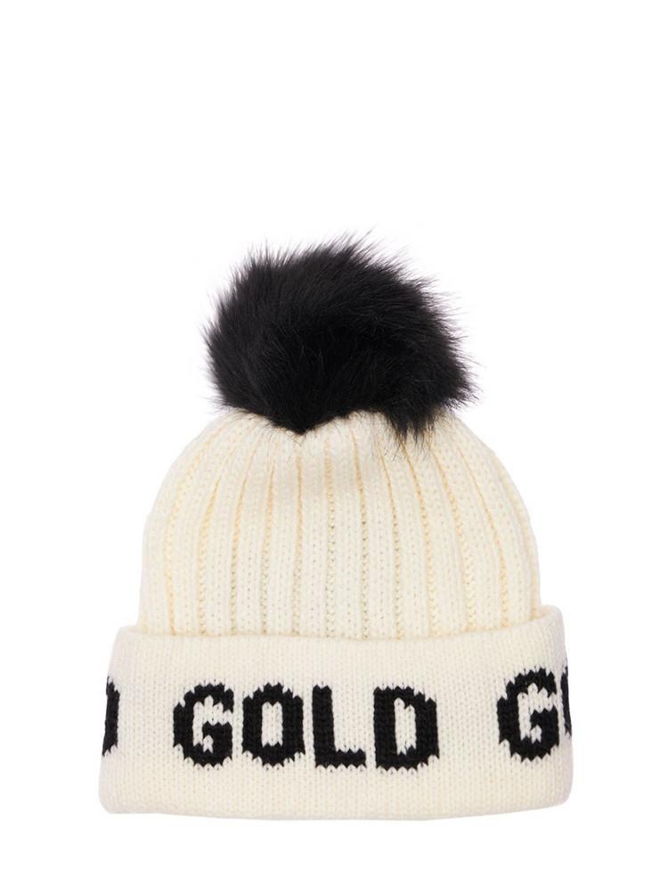 GOLDBERGH Wool Blend Beanie W/ Pompom in white