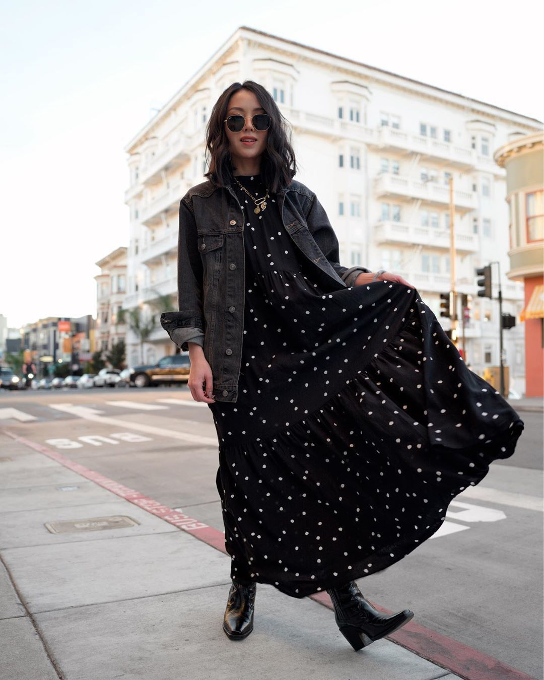 dress black dress maxi dress polka dots black boots denim jacket black jacket