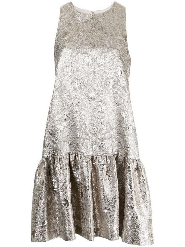 Lela Rose floral jacquard flounce-hem dress in silver