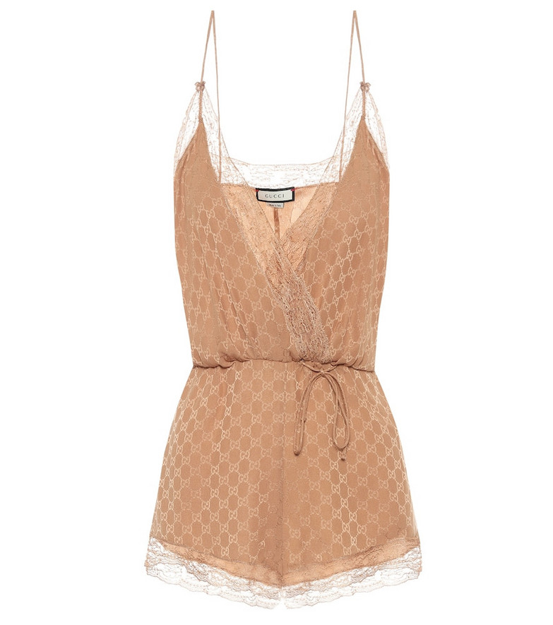 Gucci Lace-trimmed silk playsuit in beige