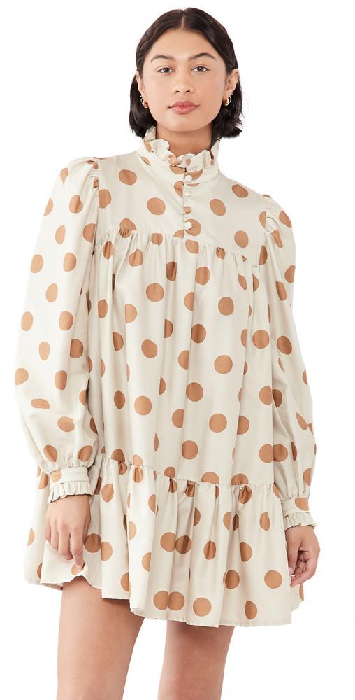 AVAVAV Long Sleeve Mini Ruffle Dress in beige