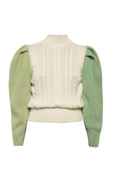 Anna October Colorblock Wool Blend Sweater Size: M in white
