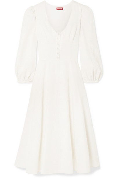 STAUD - Birdie Linen-blend Midi Dress - Ivory