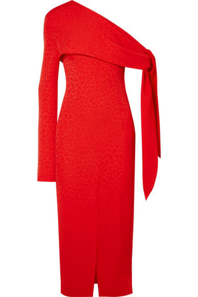 MATÉRIEL - One-shoulder Draped Jacquard Midi Dress - Red