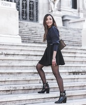 skirt,mini skirt,black skirt,black boots,ankle boots,patent boots,heel boots,tights,gucci bag,knitted sweater,puffed sleeves