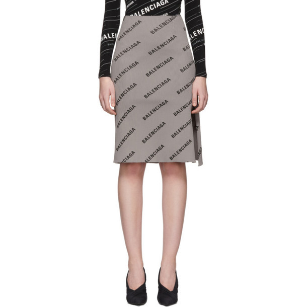 Balenciaga Grey Ribbed Logo Skirt