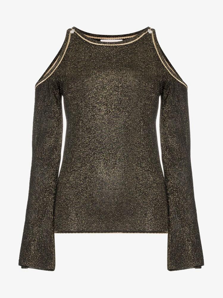 Peter Pilotto glittered cold-shoulder jumper in black