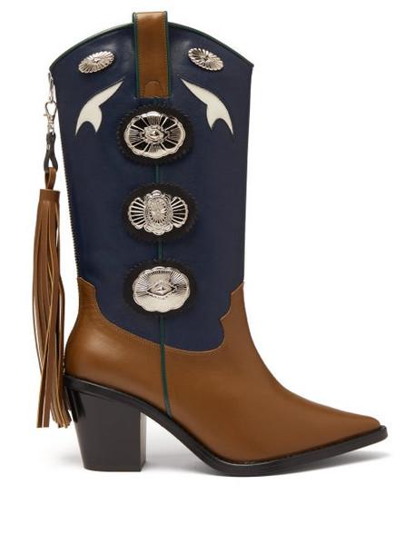 Toga - Two Tone Leather Cowboy Boots - Womens - Khaki Multi