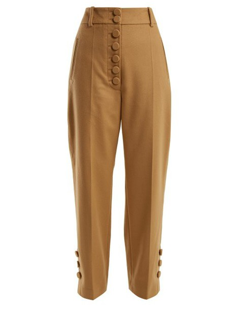 Joseph - Young Buttoned Wool And Cashmere Blend Trousers - Womens - Camel